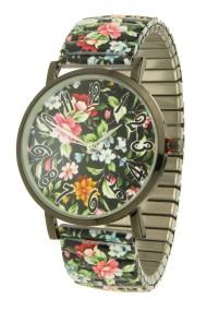"""Ernest horloge """"Multi-Flowers"""" zwart"""