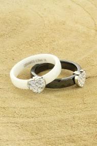 "Ring ""Ceramic-Heart"" zwart"