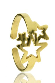 "RVS ring ""Stars"" goud"