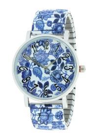 """Ernest horloge """"Blue Leafs"""" blauw-wit"""